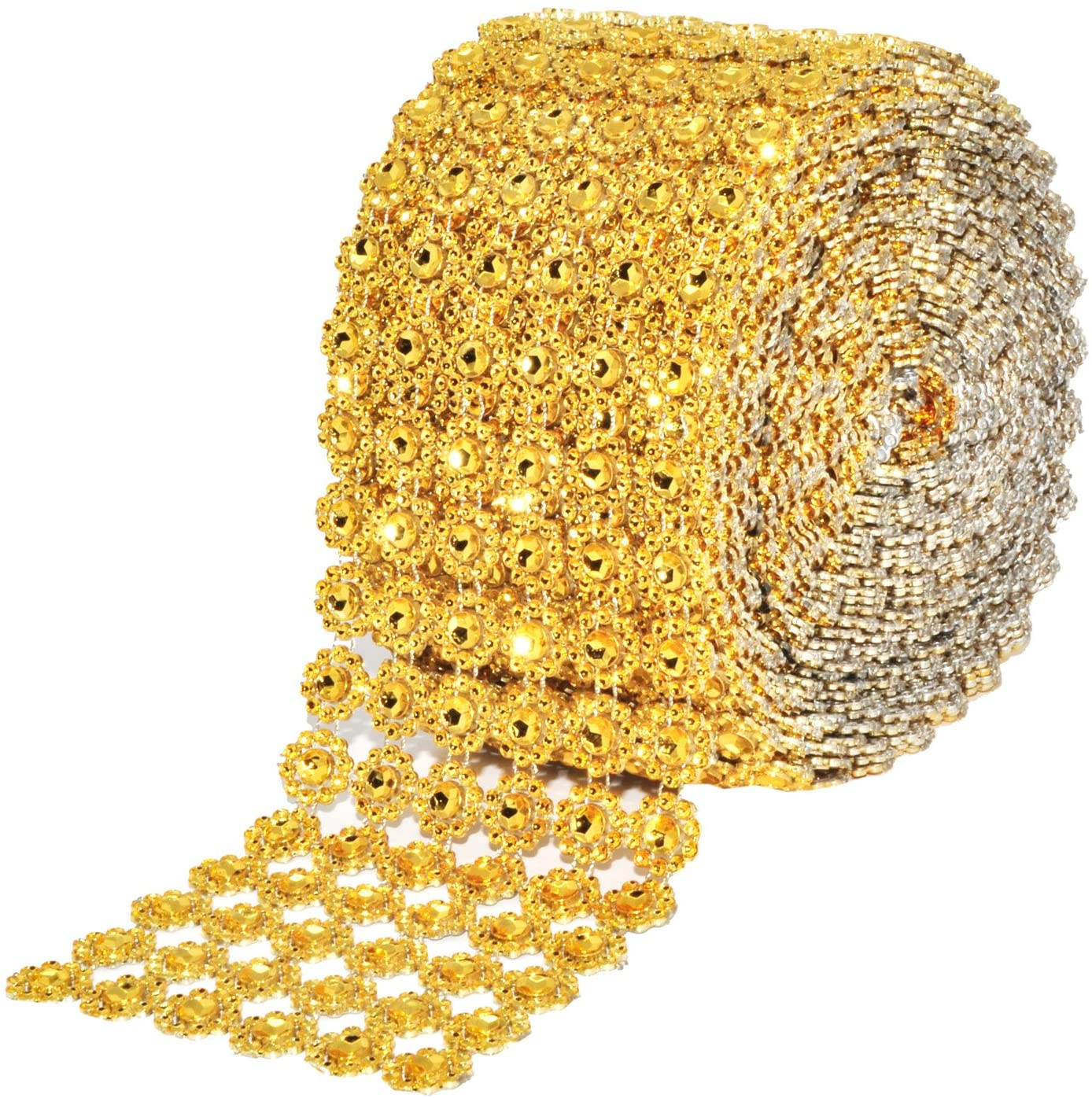 Mandala Crafts Faux Diamond Bling Wrap, Faux Rhinestone Crystal Mesh Ribbon Roll for Wedding, Party, Centerpiece, Cake, Vase Sparkling Decoration (Flower Pattern 4 Inches 10 Yards, Gold)