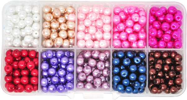 Glass Pearl Beads for Jewelry Making, Faux Pearls for Crafts with Hole Assortment Kit Bulk Pack by Mandala Crafts