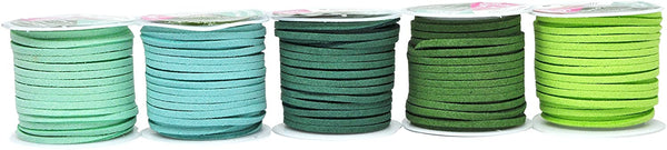 Mandala Crafts 138 Yards Jewelry Making Flat Micro Fiber Lace Faux Suede Leather Cord (25 Rolls Combo)
