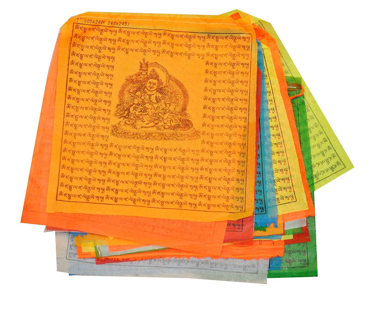 Mandala Crafts Tibetan Large 10 X 10 Inches Lungta Prayer Flags with Neon Color ~ 21 Prayer Flags SET ~ Wind Horse Prayer Flags, 18 FT Long
