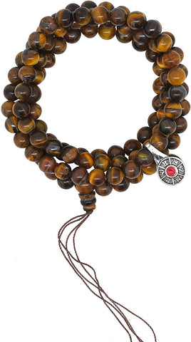 Yoga Meditation 8mm Tiger Eye 108 Prayer Beads Mala Necklace with a Charm