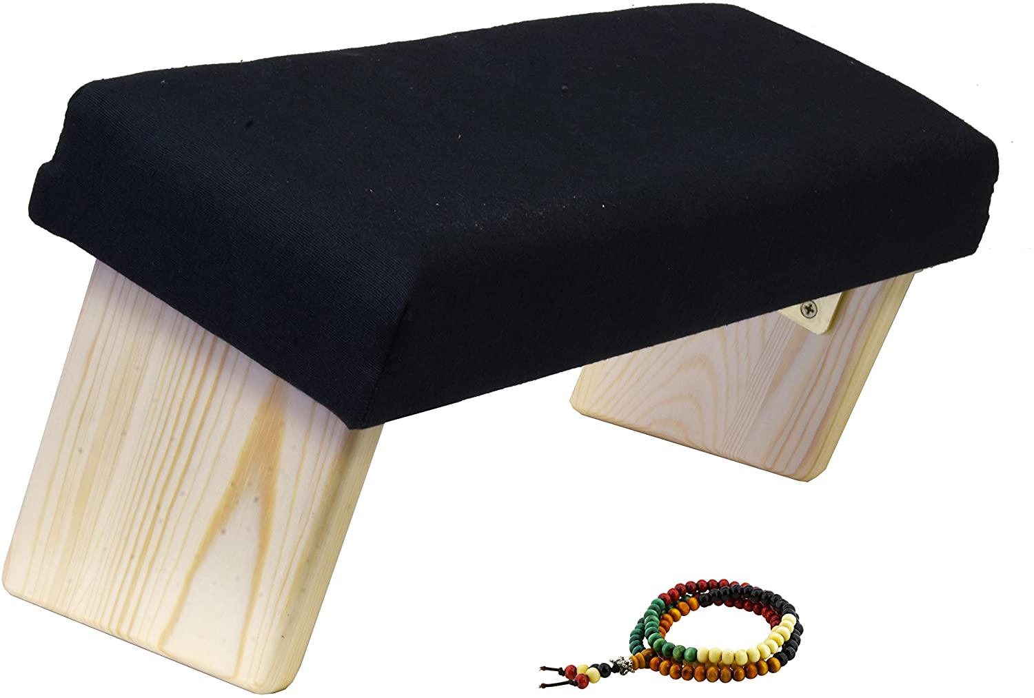 Mudra Crafts Foldable Meditation Bench, Kneeling Chair, Yoga Stool from Wood with Seat Cushion for Seiza, Zazen, Meditating