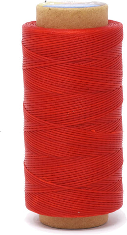 Flat Waxed Thread for Leather Sewing - Leather Thread Wax String Polyester Cord for Leather Craft Stitching Bookbinding by Mandala Crafts 150D 0.8mm 273 Yards Red