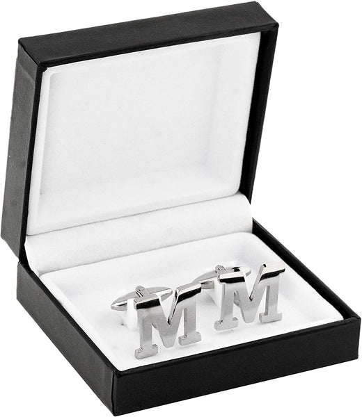Mandala Crafts Stainless Steel Initial Cufflinks for Men, Alphabet Letter Cuff Links for Gifts (M)