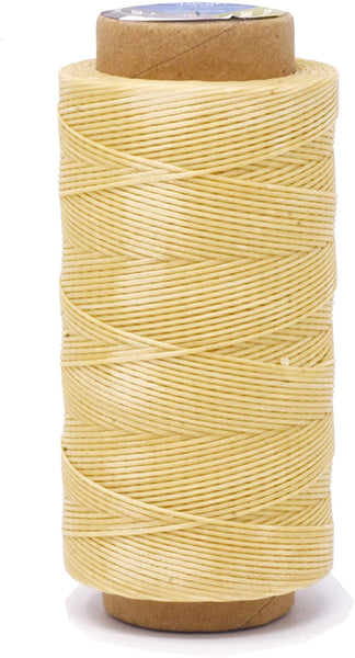 Mandala Crafts 150D 210D 0.8mm 1mm Leather Sewing Stitching Flat Waxed Thread String Cord (210D 1mm 180M, Tan)