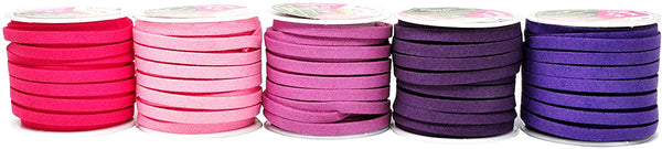 Mandala Crafts 50 Yards 5mm Wide Jewelry Making Flat Micro Fiber Lace Faux Suede Leather Cord