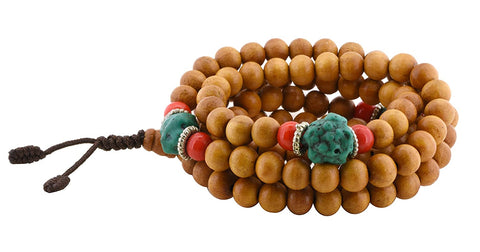 Tibetan 8mm Light Wood Simulated Turquoise 108 Prayer Beads Mala Necklace
