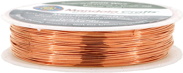 Mandala Crafts Thin Copper Wire for Jewelry Making, Sculpting, Weaving, Hobby, Gem Metal Wrap; Soft and Bendable; 1 Spool (28 Gauge 50M, Silver)