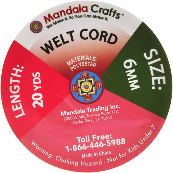 Mandala Crafts Welt Cord, Polyester Cotton Piping Filler for Drapery, Pillow, Upholstery, Trimming, Sewing, Crafting