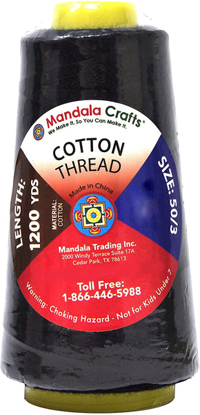Mandala Crafts Quilting Cotton Thread Cone for Machine and Hand Sewing, 100 Percent Natural Mercerized, 50 wt (5 Rolls 6000 Yards, Black Pink Teal Beige Dark Red Combo 2)