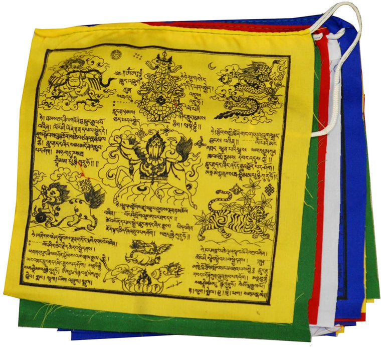 Mandala Crafts Cotton Long Snow Lion Tibetan Prayer Flags, 25 Flags Per Strand (8 X 8 Inches Per Flag (18 Feet))