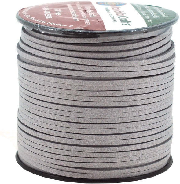 Mandala Crafts 100 Yards 2.65mm Wide Jewelry Making Flat Micro Fiber Lace Faux Suede Leather Cord (Ice Gray)