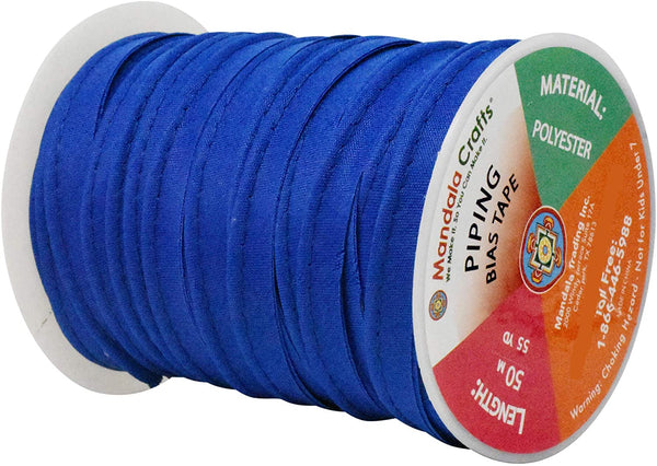 Mandala Crafts Maxi Piping Trim, Single Fold Bias Tape, Welting Cord from Polyester for Sewing, Trimming, Upholstery (Black, 2.5mm 0.5 inch 55 Yards)