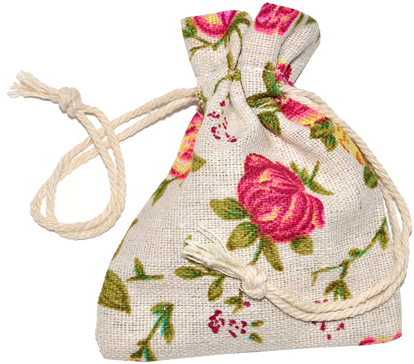 Mandala Crafts Rose Flower Natural Burlap Drawstring Gift Bag, Linen Floral Pattern Pouch for Party Favor, Jewelry, Wedding, Candles, Tea, Coffee (5X7 Inches, 50 Bags)