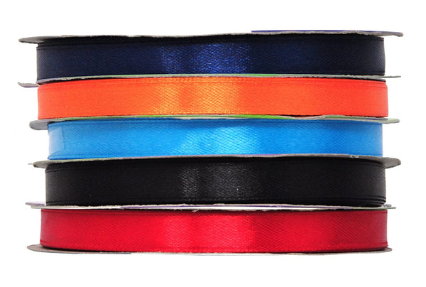 Mandala Crafts 3/8 Inch Wide Silver Red Green Black Blue Teal White Satin Ribbon