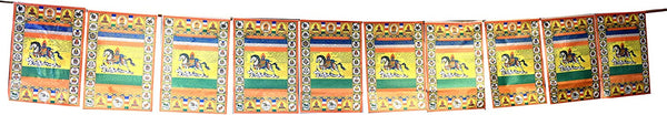 Tibetan Prayer Flag, Himalayan Lungta Windhorse Hanging Banner on a String for Decoration; by Mudra Crafts; Windhorse