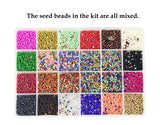 Mandala Crafts Mixed Glass Seed Beads, Small Round Pony Beads Kit with Organizer Box for Jewelry Making, Beading, Crafting; 24 Colors