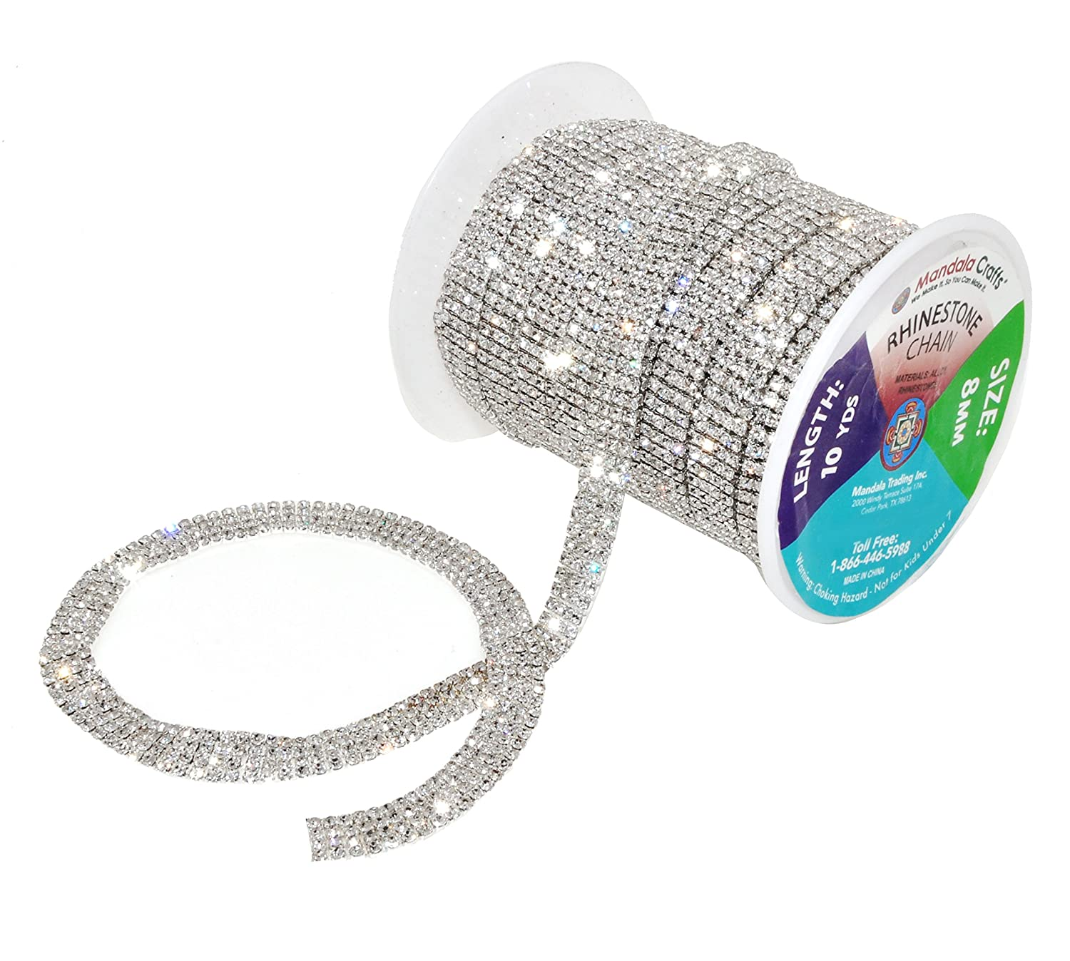 Mandala Crafts Rhinestone Cup Chain Trim Roll for Jewelry Making, Glass Crystal Glam Decor, Simulated Diamond Bling Wraps, Veils, Cakes