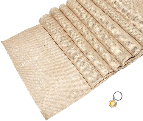 Mandala Crafts 108 Inch Natural Burlap Country Rustic Table Runner for Wedding Shower Banquet Holiday Themed Party