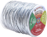Mandala Crafts Metallic Cord Tinsel String Rope for Ornament Hanging, Decorating, Gift Wrapping, Crafting; Elastic 1.5mm 109 Yards, Silver