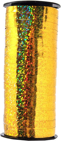 Mandala Crafts Glitter Curling Ribbon, Crimped, Iridescent, Metallic Décor for Balloon, Gift Wrapping, Party Favors, Holiday, 5mm