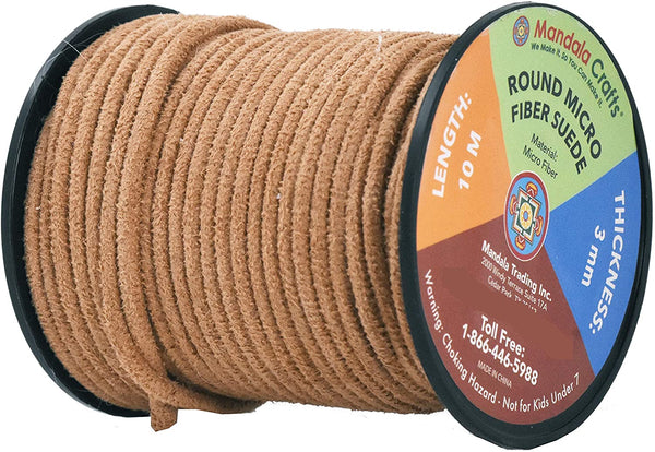 Mandala Crafts Round Faux Suede Leather Cord from Micro-Fiber for Jewelry Making, Crafting, Beading, Lacing