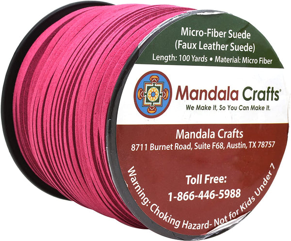 Mandala Crafts 100 Yards 2.65mm Wide Jewelry Making Flat Micro Fiber Lace Faux Suede Leather Cord (Neon Green)