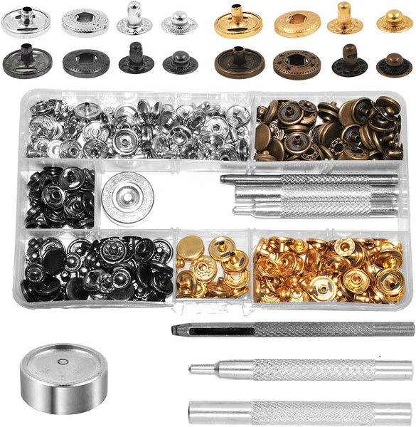 Mandala Crafts Bulk Jeans Leather Garment Tubular Metal Snap Fastener Button Set with Stud Rivet Setter Kit Tool Box