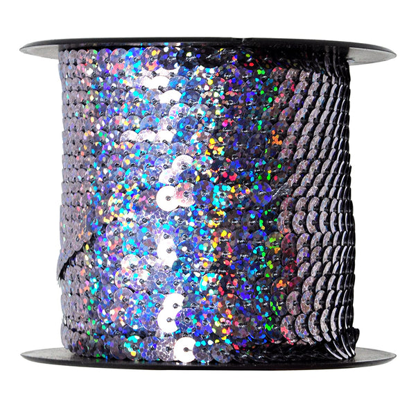 Mandala Crafts 6mm Flat Gold Silver Black Red Blue Trim Paillette Spangle Sequins String Ribbon Roll, 100 Yards