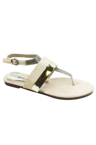Beige and Gold Thong Sandals