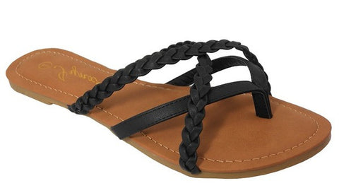 Braided Black Flip Flops