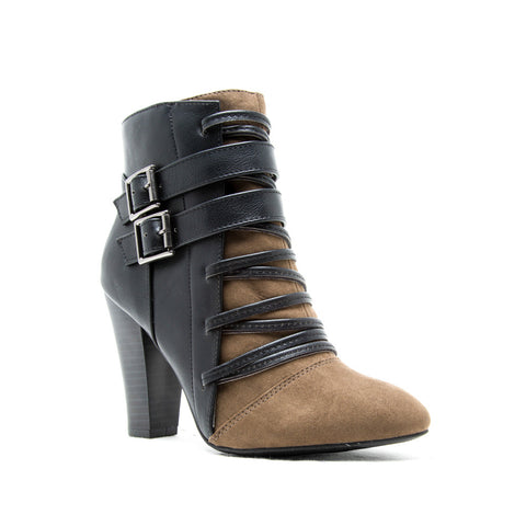 Bootie with Black Strap Detail
