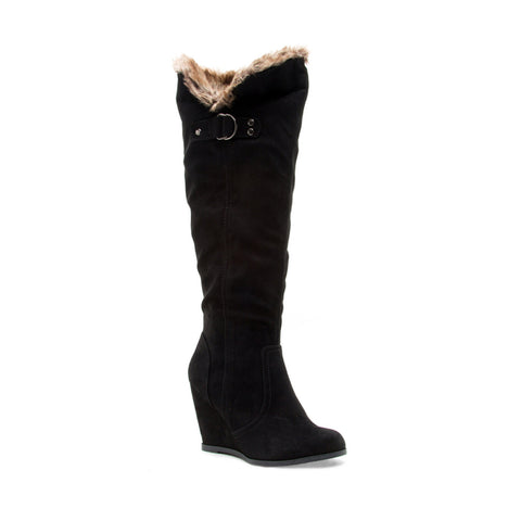Black Knee High Wedge Boot w/ Faux Fur