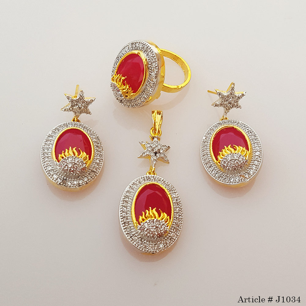 Golden Red Gold Plated Indian Jewelry Set : gold plated indian jewelry sets - pezcame.com