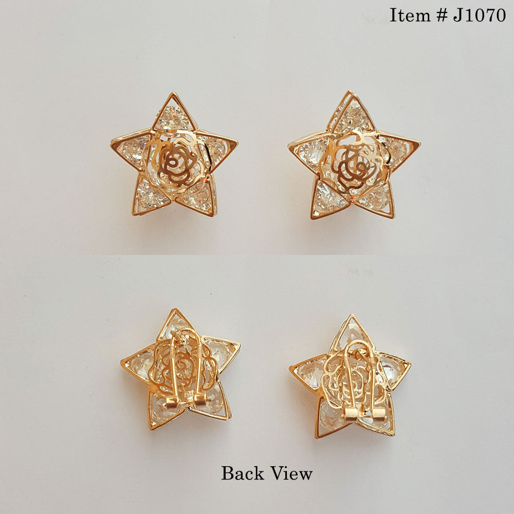 Gold Plated Cubic Zircon Ear Tops Star Shaped – uClick.pk