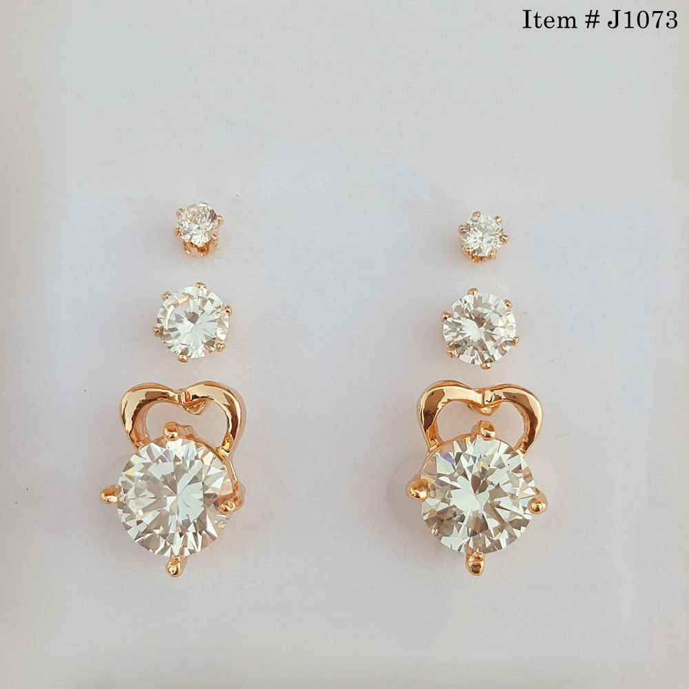 Gold Plated Cubic Zircon Three Step Ear Tops – uClick.pk