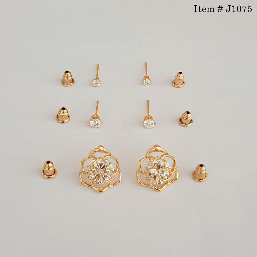 Gold Plated 3 Steps Ear Tops – uClick.pk