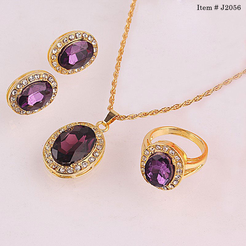 Trendy Style Chic Round Shape Necklace Ring Earrings 18K Gold Plated Jewelry Sets & Trendy Style Chic Round Shape Necklace Ring Earrings 18K Gold Plated ...