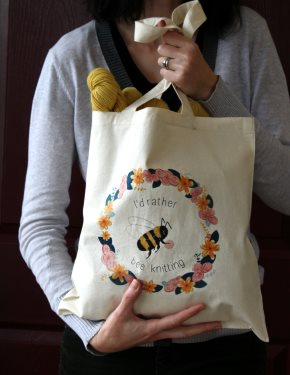 I'd Rather Bee Knitting Tote Bag