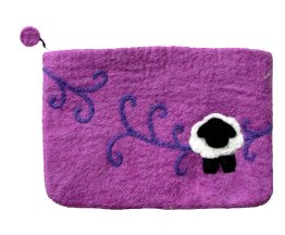 Frabjous Fibers Purple Sheep Swirls Notions Bag