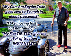 FlexTIP walking cane with Can Am Trike Rider