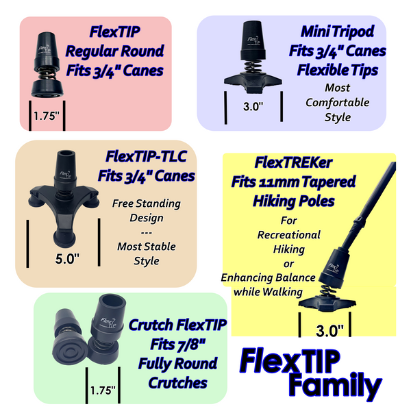 FlexTREKer Flexible Replacement Tip - for 11mm Trekking Hiking Poles Sticks (Single Tip)