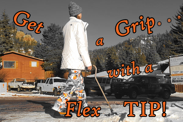 FlexTIP-TLC walking cane tripod base in snow & ice