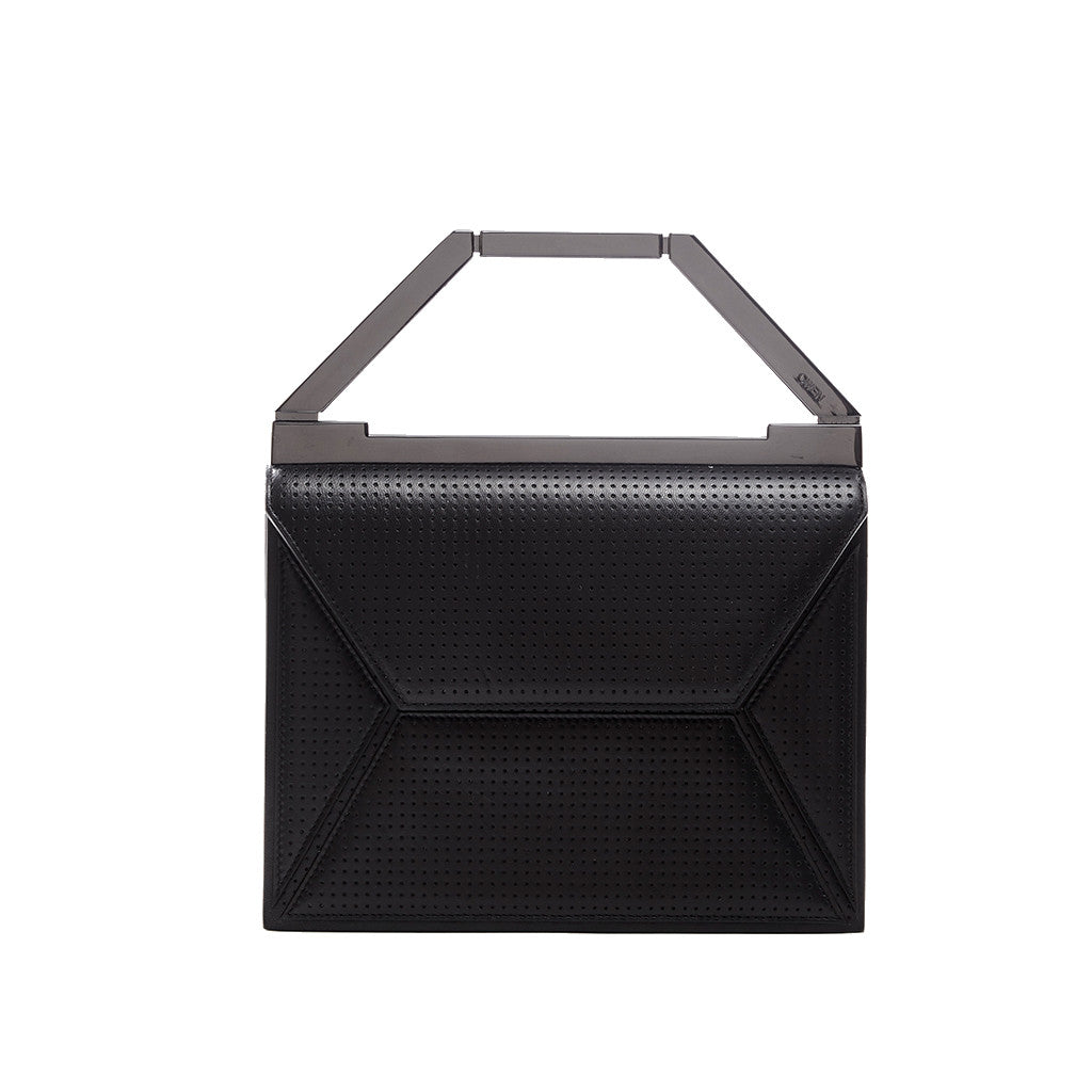 THE EVA BAG <br/> BLACK PERFORATED & GUNMETAL