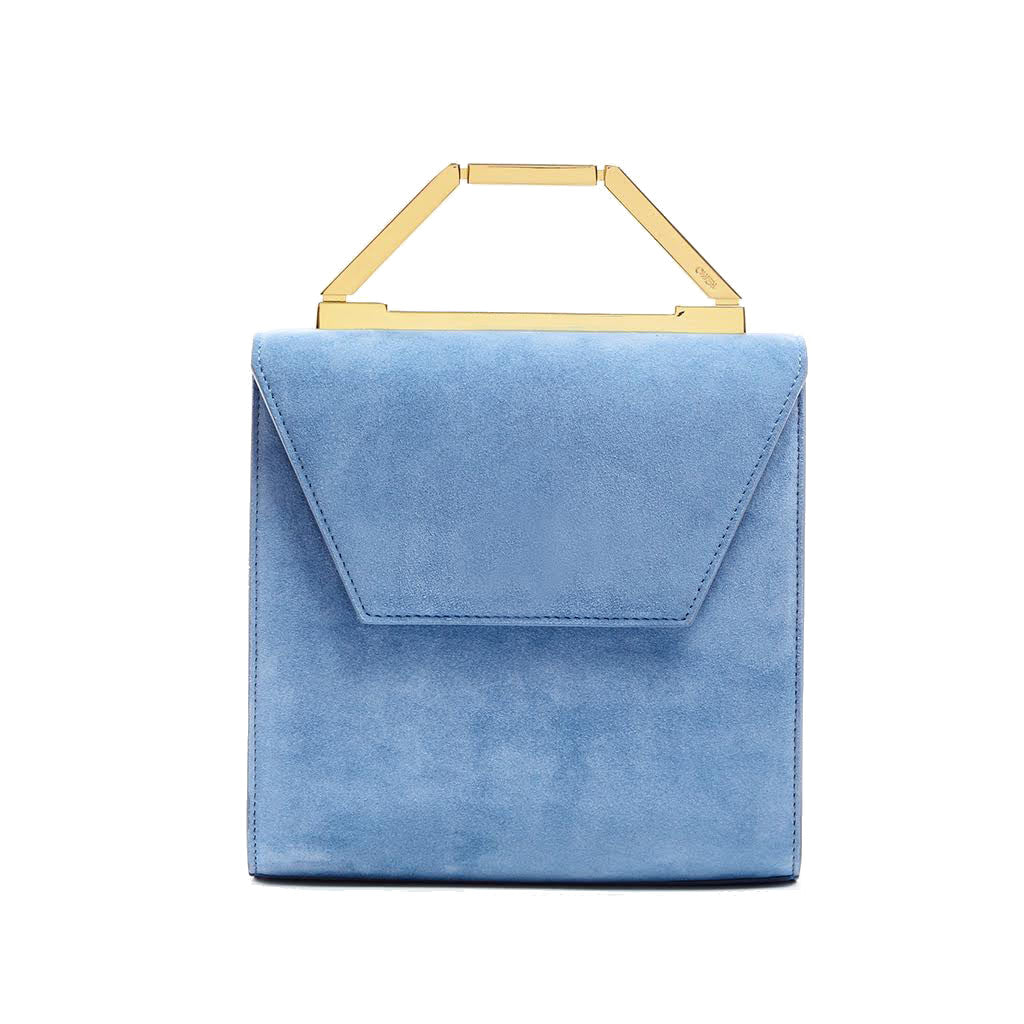 THE MONA BAG <br/>  BLUE JEAN SUEDE & GOLD