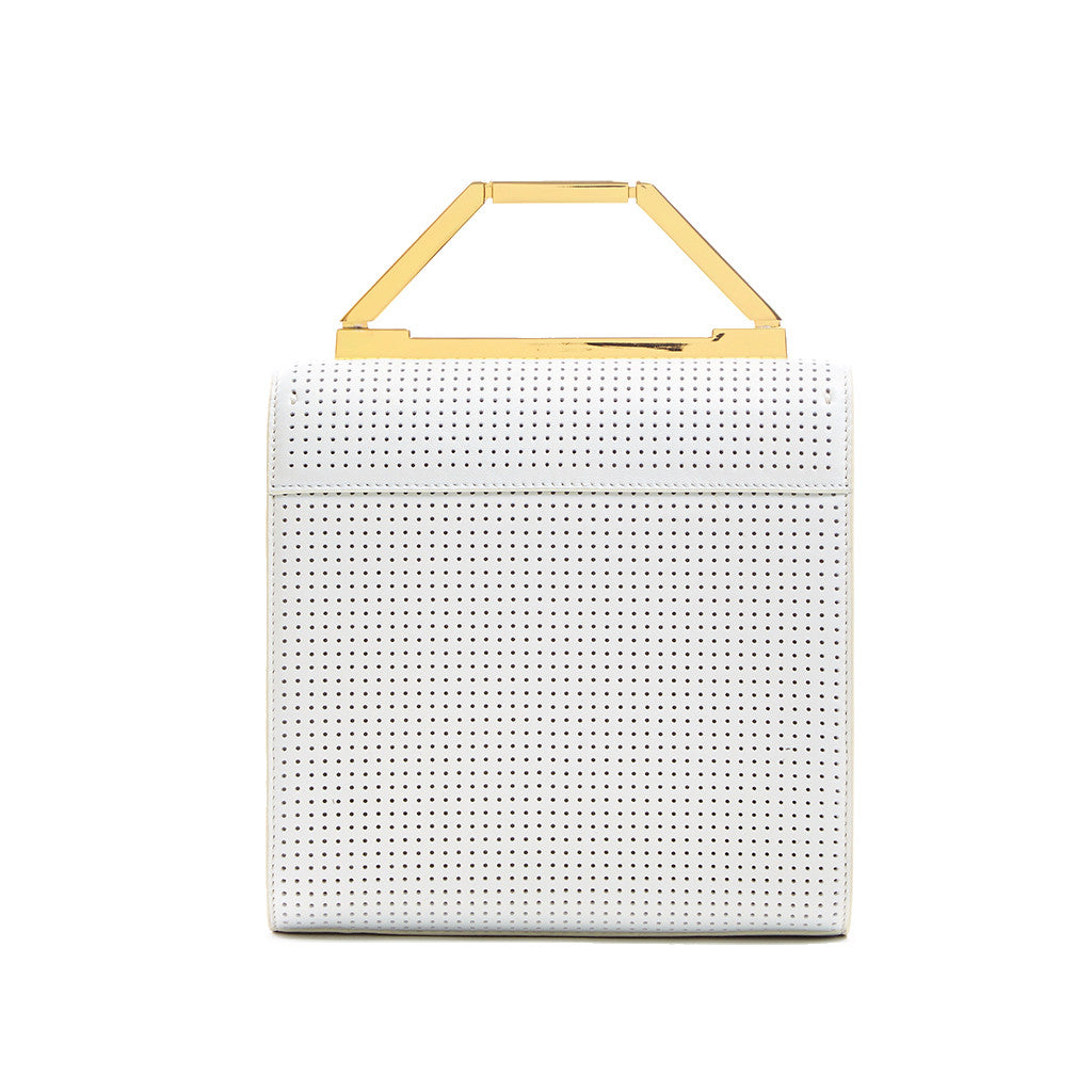 THE MONA BAG <br/>  WHITE PERFORATED & GOLD