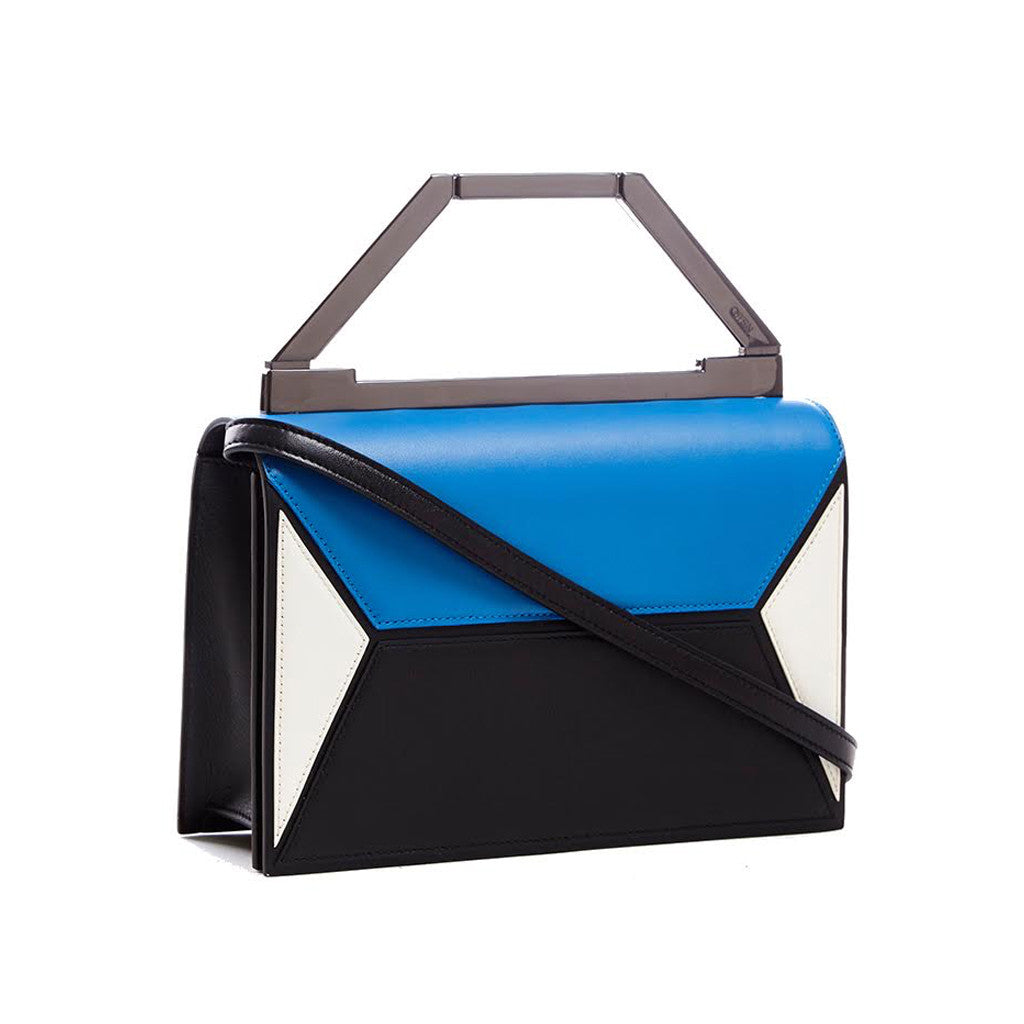THE AVA BAG <br/>  BLUE & WHITE COLORBLOCK