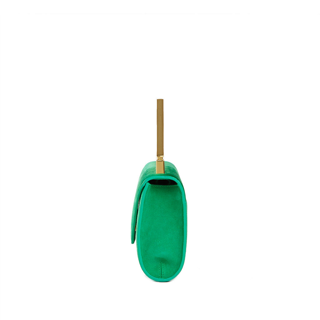 THE NOELLE BAG  <br/>  EMERALD SUEDE & GOLD