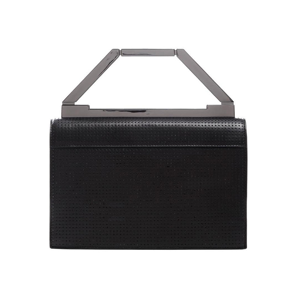 THE AVA BAG <br/>  BLACK PERFORATED & GUNMETAL