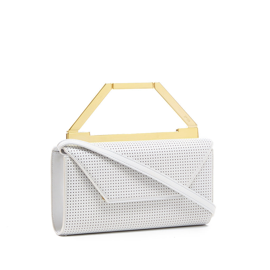 THE NOELLE BAG  <br/>  WHITE PERFORATED & GOLD